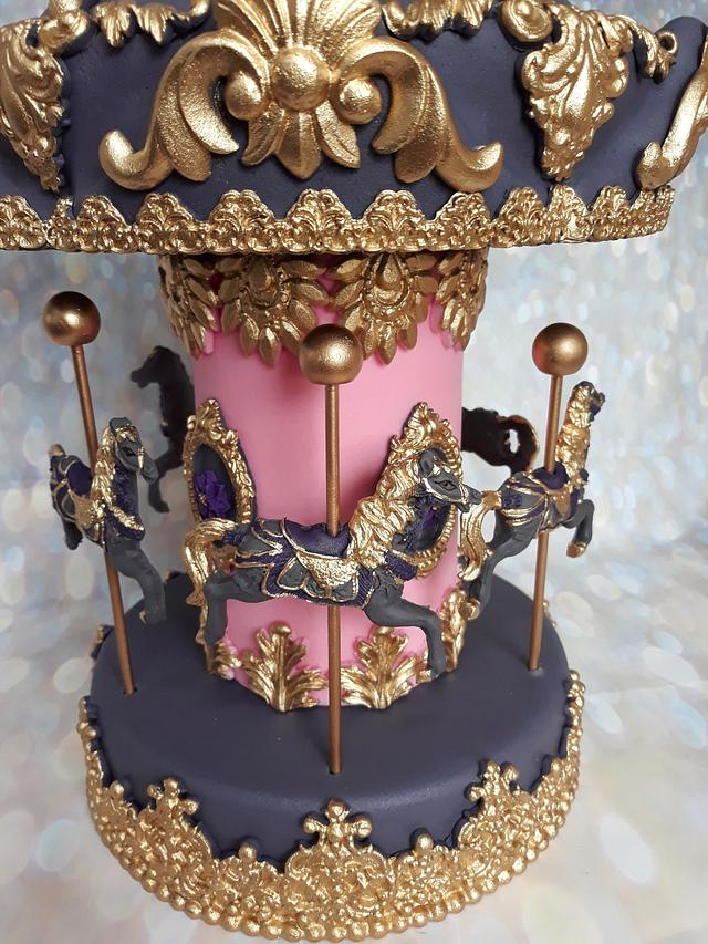Carousel cake in Grey Color