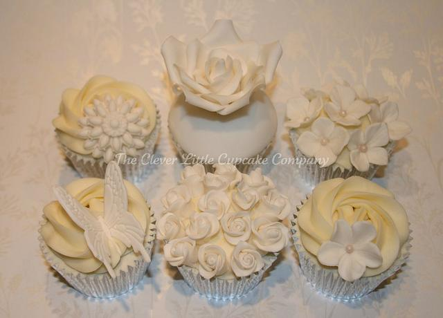 Ivory and White Wedding Cupcakes