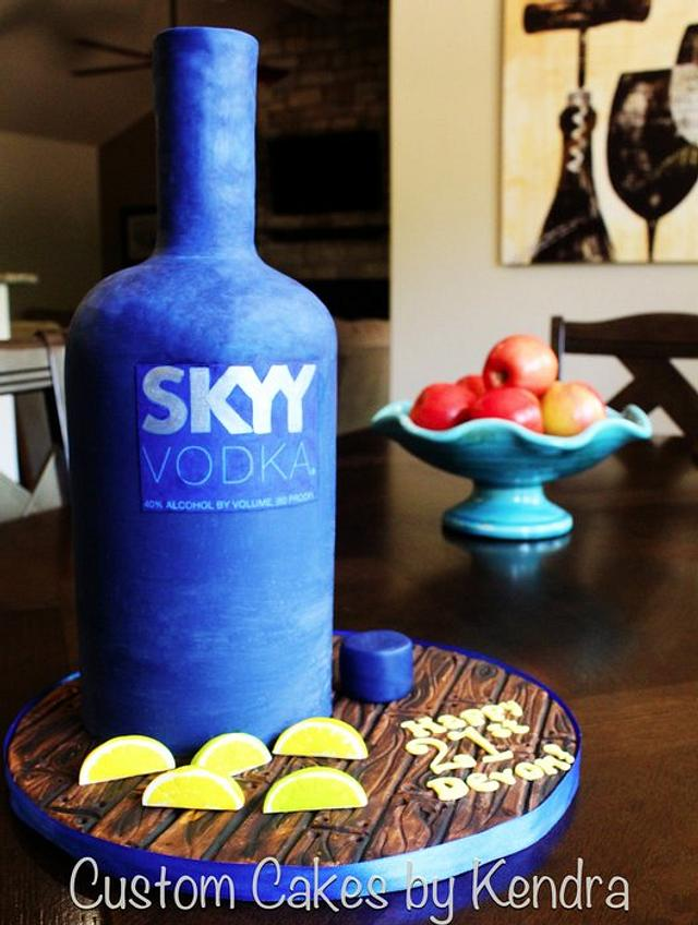Enjoyable Skyy Vodka Bottle 21St Birthday Cake By Kendra Cakesdecor Funny Birthday Cards Online Alyptdamsfinfo