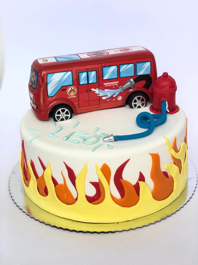 Strange Leos Firetruck Birthday Cake Cake By Torte By Amina Cakesdecor Birthday Cards Printable Benkemecafe Filternl