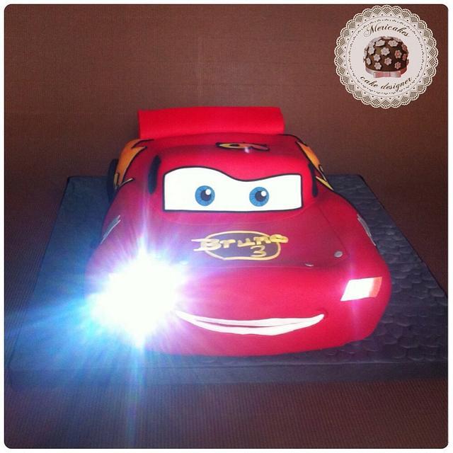 Lightning McQueen cake 3D with lights
