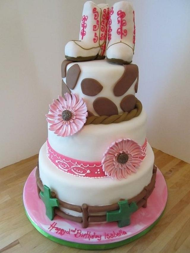 Sensational Cowgirl Birthday Cake Cake By Denise Frenette Cakesdecor Personalised Birthday Cards Bromeletsinfo