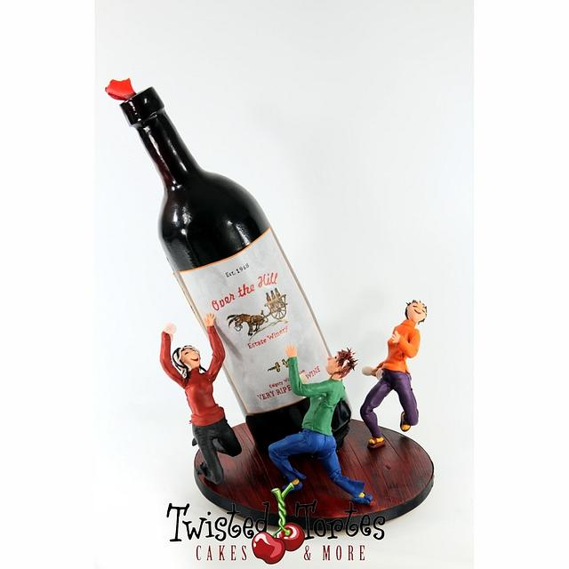 Tipsy Wine Bottle Cake