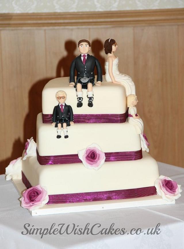Ivory and Dark Magenta Wedding Cake