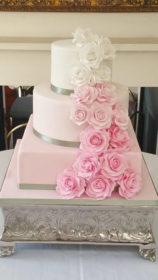 pink Ombre Rose Wedding Cake