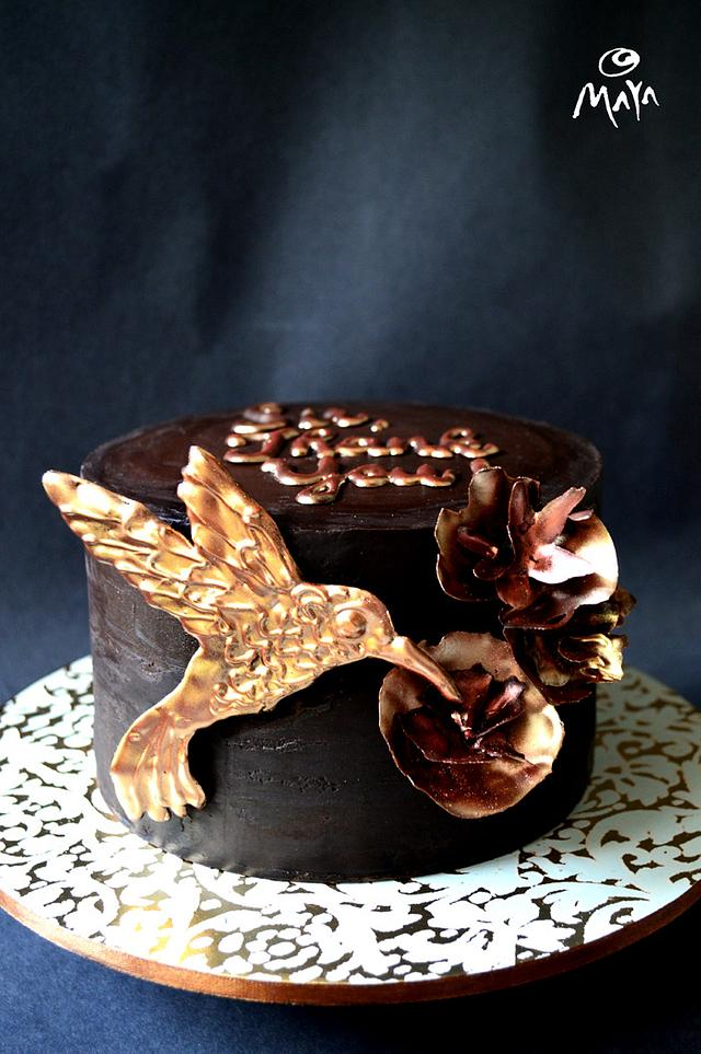 Chocolate Hummingbird & flowers