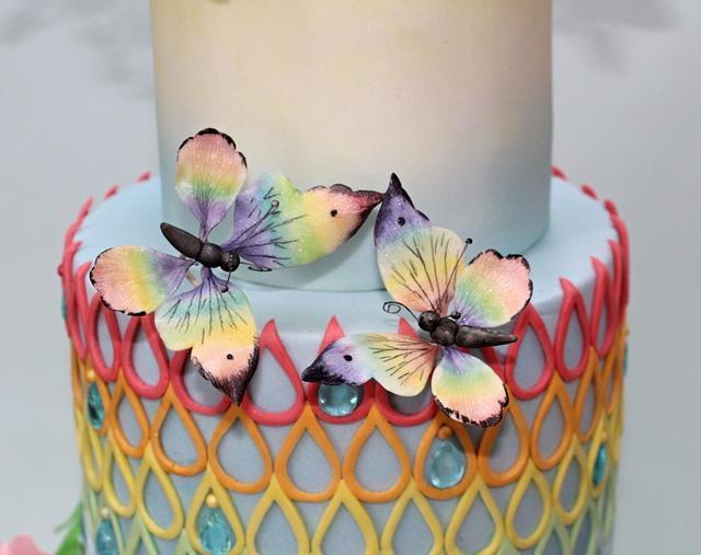 summer rainbow - wedding cake