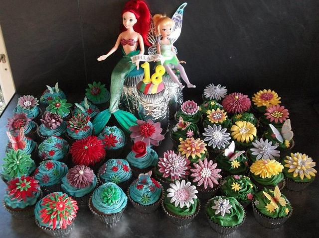 my first real cupcakes - Ariel & Tinkerbell inspired garden flower cupcakes