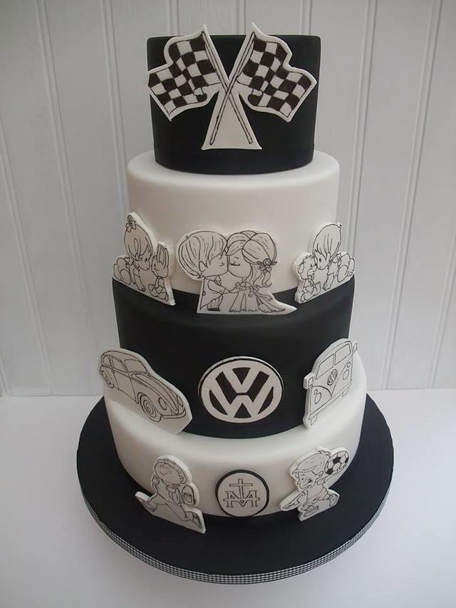 "Black and white ""history"" cake"