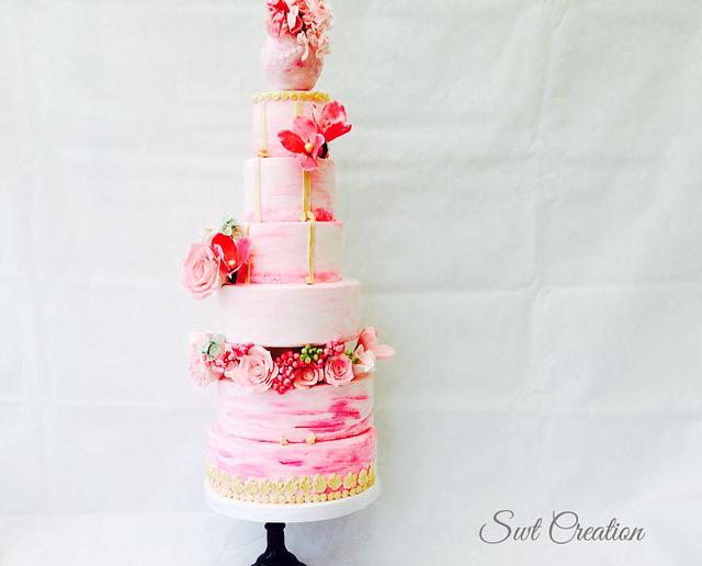 Hand painted pink ombré wedding cake