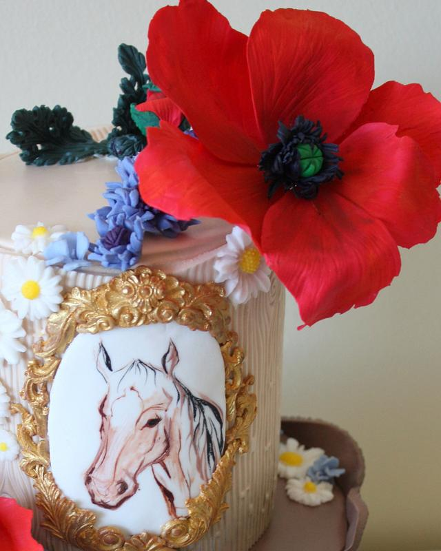 Horse and red poppies