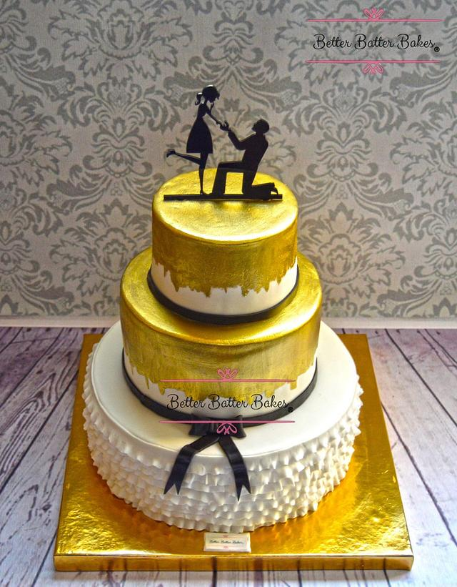 Hand painted gold engagement cake