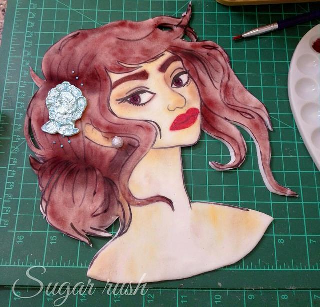 Hand painted girl cake