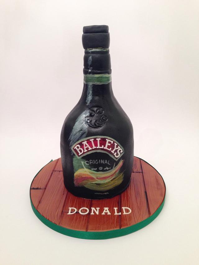 Hand Painted Baileys Bottle Cake