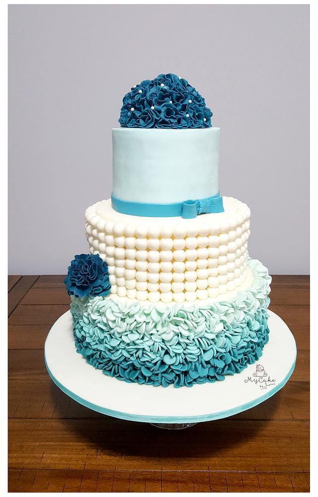 Teal ombre wedding cake theme