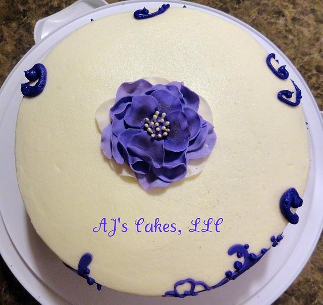 Purple Lace and Flower Cake