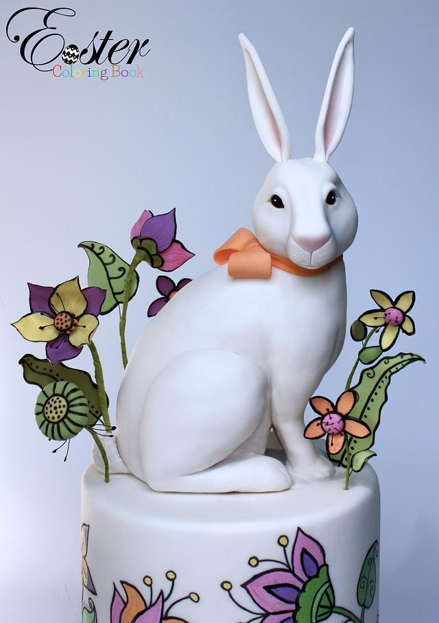 The White Rabbit- Easter Coloring Book Cake Collaboration
