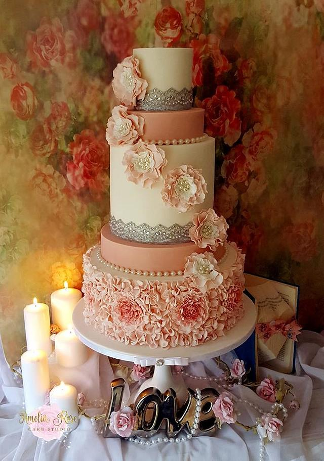 Pink and Ivory ruffle wedding