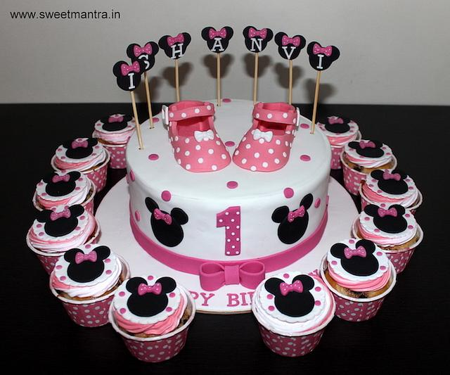 Astounding Minnie Mouse Theme Customized Cake And Cupcakes For Cakesdecor Personalised Birthday Cards Cominlily Jamesorg