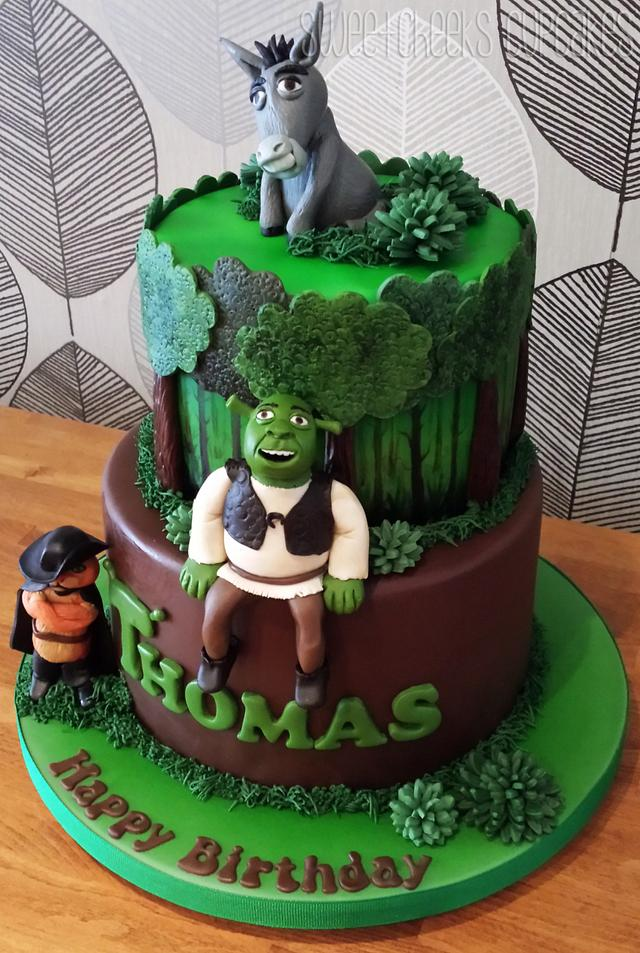 Sensational 2 Tier Shrek Cake Cake By Sweetcheeks Cupcakes Cakesdecor Funny Birthday Cards Online Elaedamsfinfo