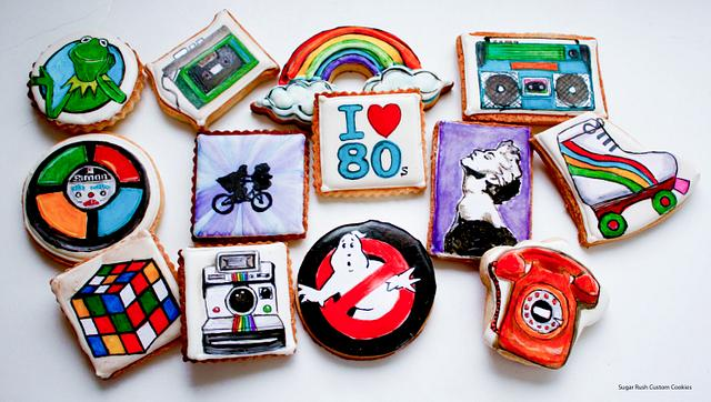 1980's themed cookies
