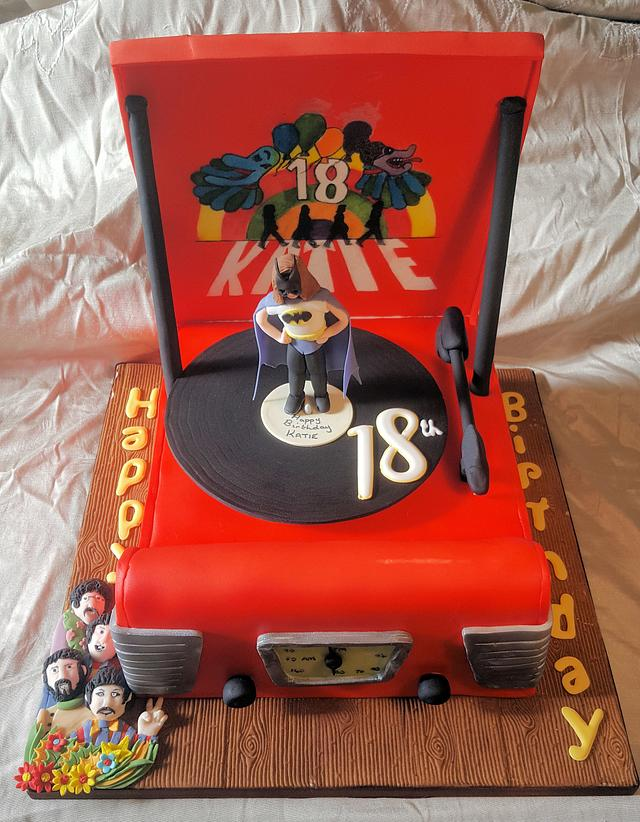 Beatles themed record player cake