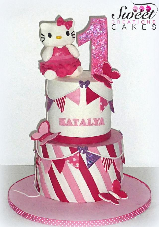 Peachy Hello Kitty First Birthday Cake By Sweet Creations Cakesdecor Funny Birthday Cards Online Inifodamsfinfo
