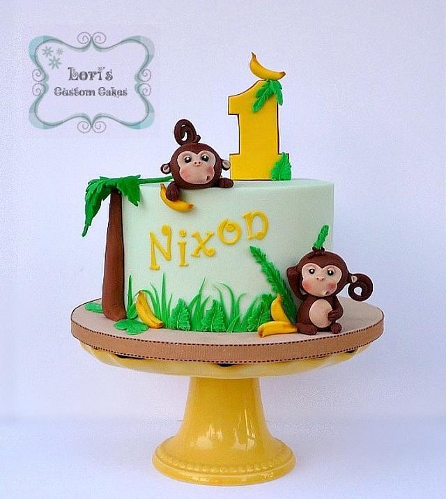Wondrous Monkeys 1St Birthday Cake Cake By Lori Mahoney Loris Cakesdecor Funny Birthday Cards Online Kookostrdamsfinfo