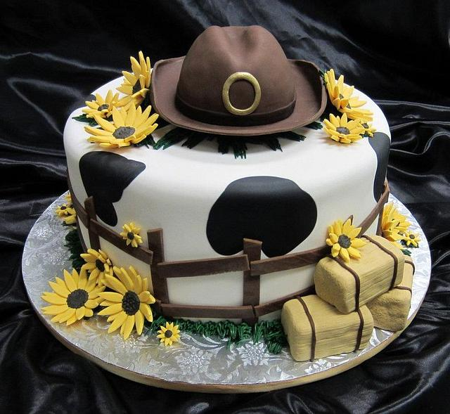 Country feelin' engagement cake
