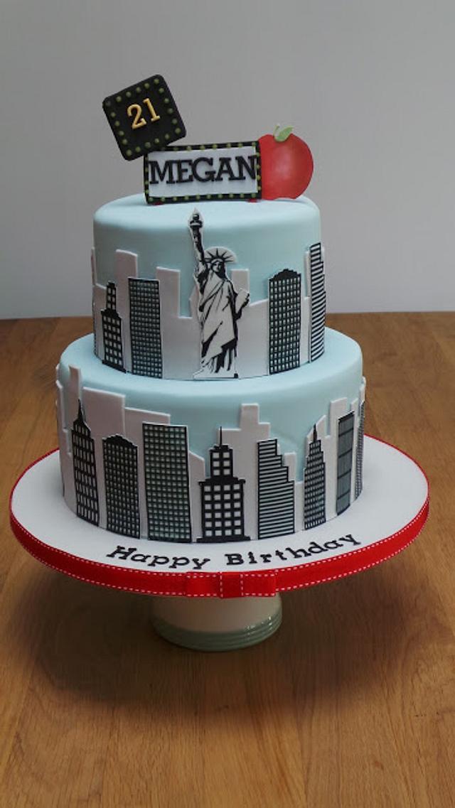 Awesome New York Skyline 21St Birthday Cake Cake By The Old Cakesdecor Funny Birthday Cards Online Elaedamsfinfo