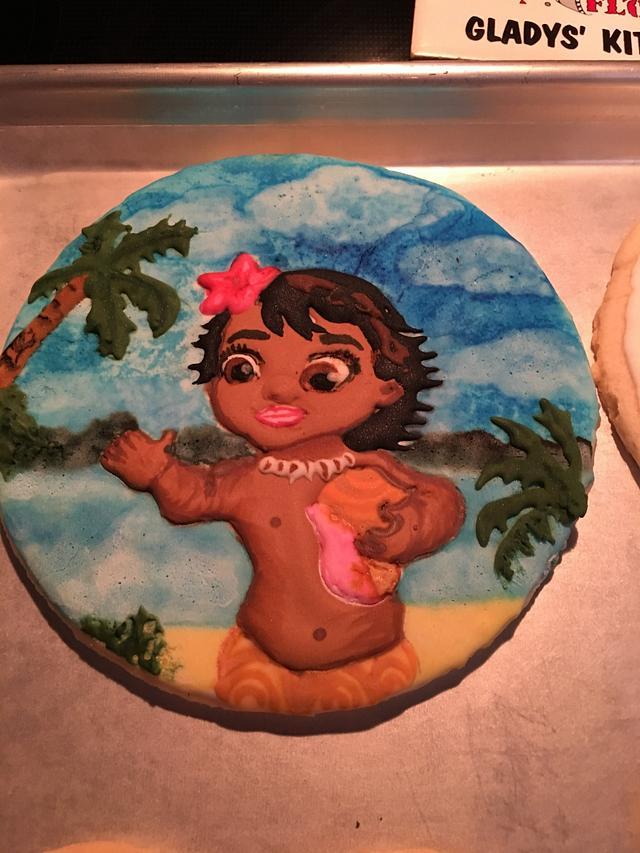 Baby Moana Royal Icing Cookies