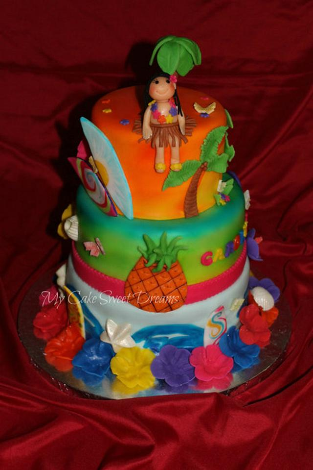 Pleasing Luau Birthday Cake Cake By My Cake Sweet Dreams Cakesdecor Funny Birthday Cards Online Elaedamsfinfo