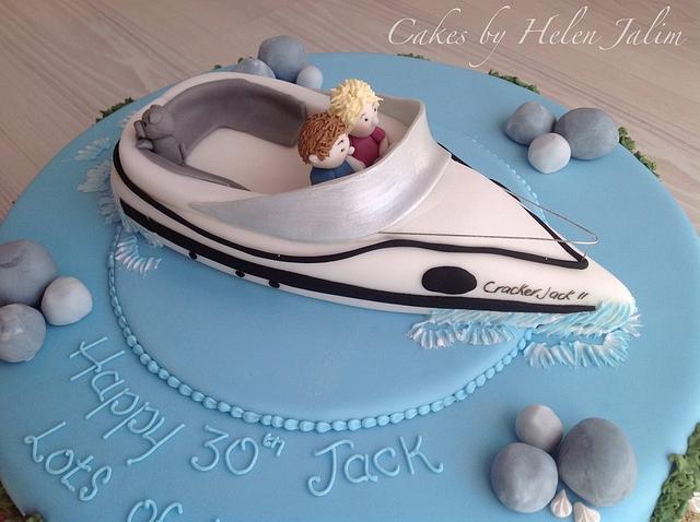 Speed boat birthday cake