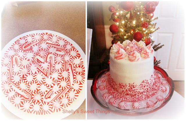 Chocolate cake with peppermint cream cheese on a peppermint platter