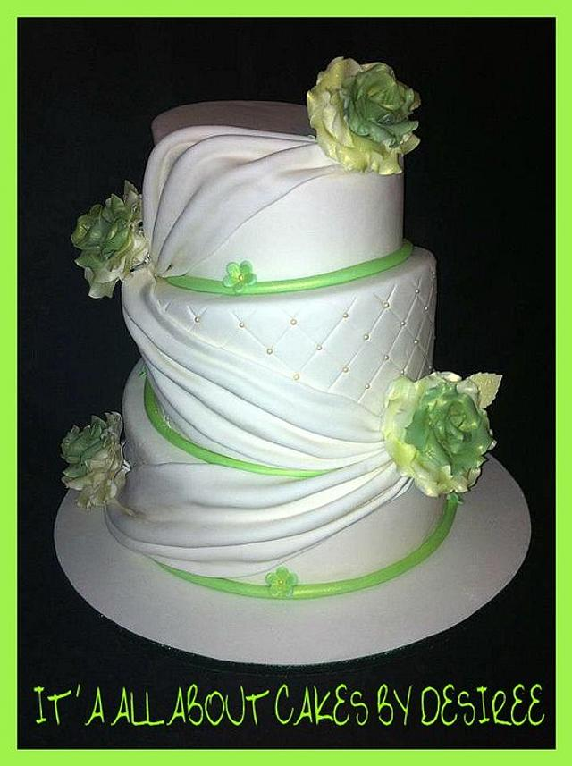 Topsy Turvy Draped Wedding Cake