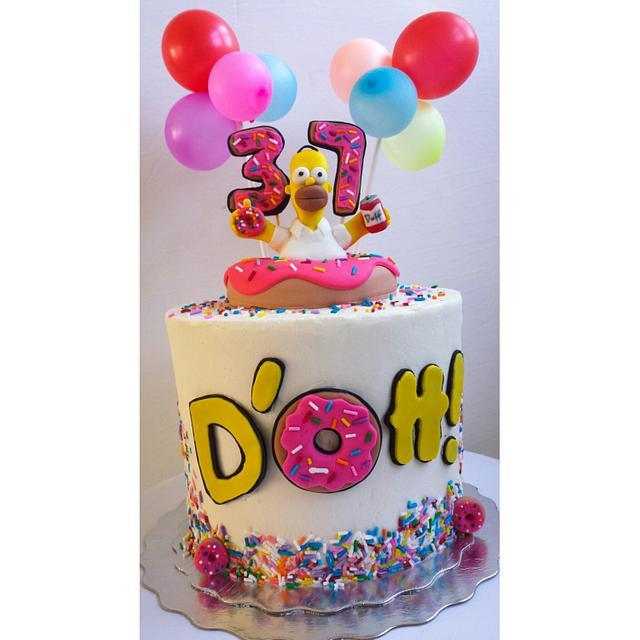 Phenomenal Homer Simpson Birthday Cake Cake By Jenn Szebeledy Cakesdecor Funny Birthday Cards Online Sheoxdamsfinfo
