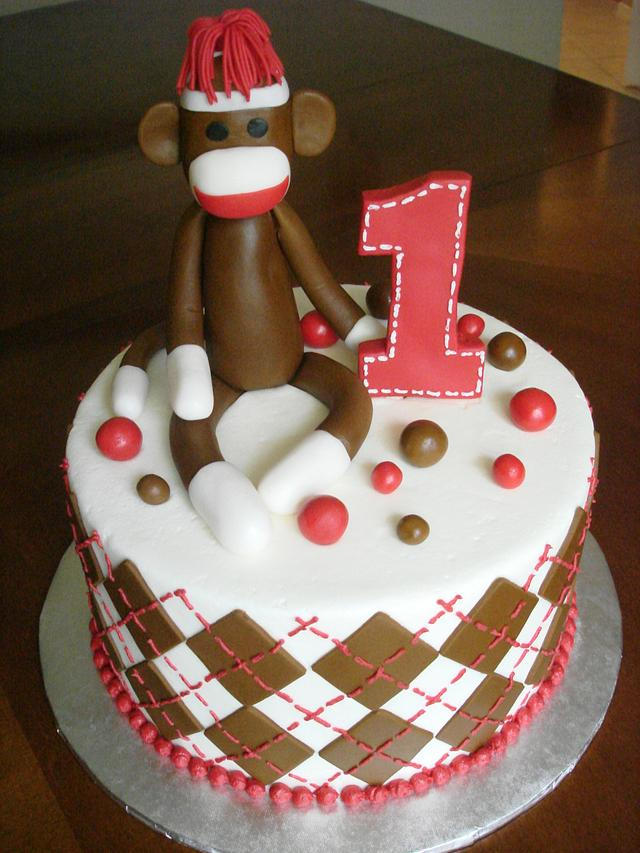 Brilliant Sock Monkey 1St Birthday Cake By Dream Slice Cakes Cakesdecor Funny Birthday Cards Online Barepcheapnameinfo