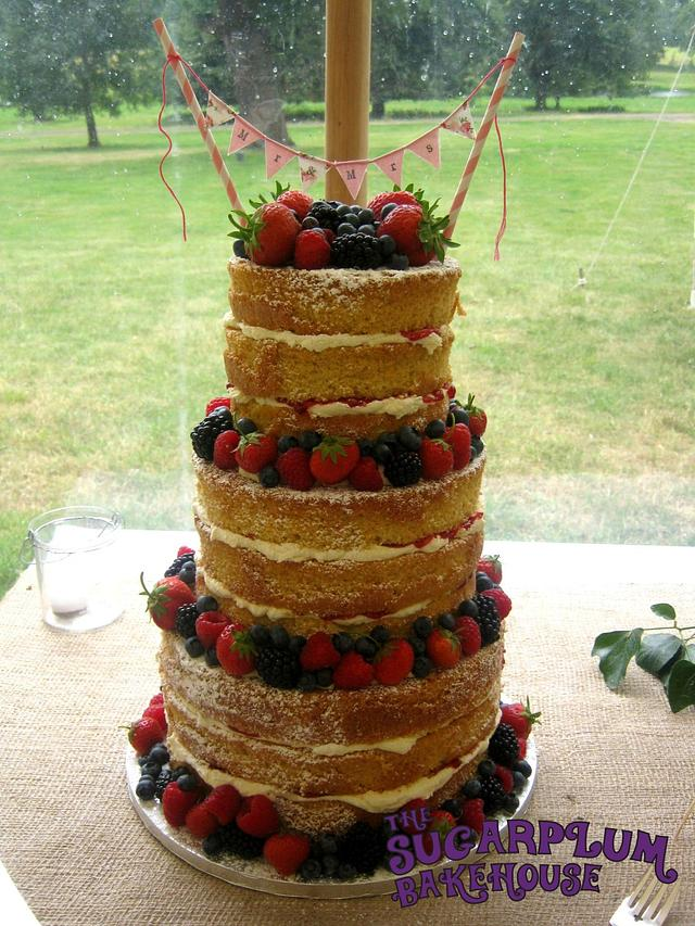 3 Tier Vanilla & White Chocolate Naked Wedding Cake