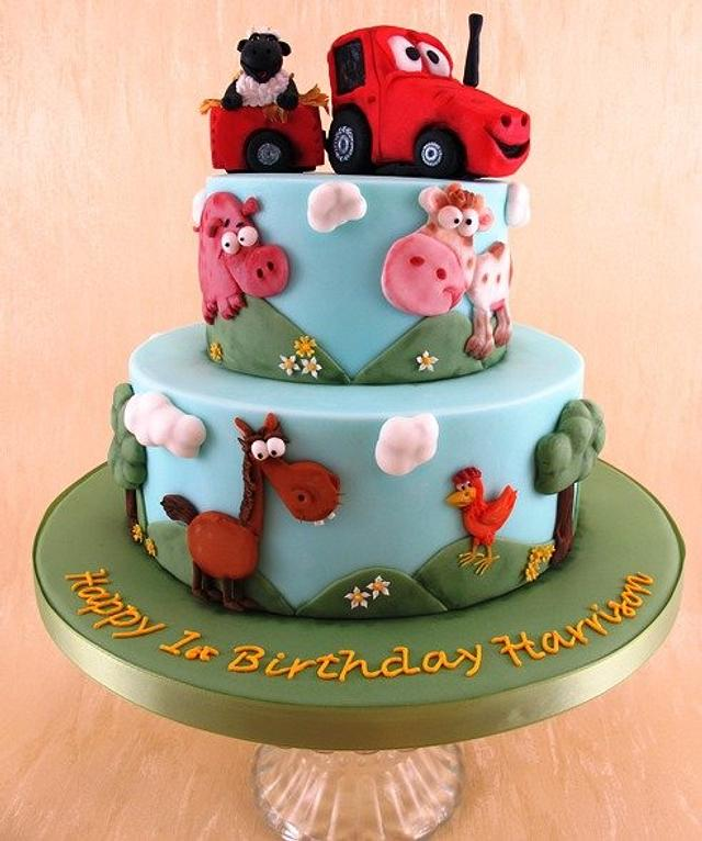 Miraculous Farm Themed First Birthday Cake Cake By Natasha Shomali Cakesdecor Funny Birthday Cards Online Sheoxdamsfinfo