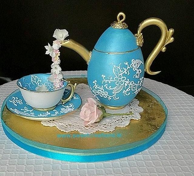 Teapot, Cup and Saucer