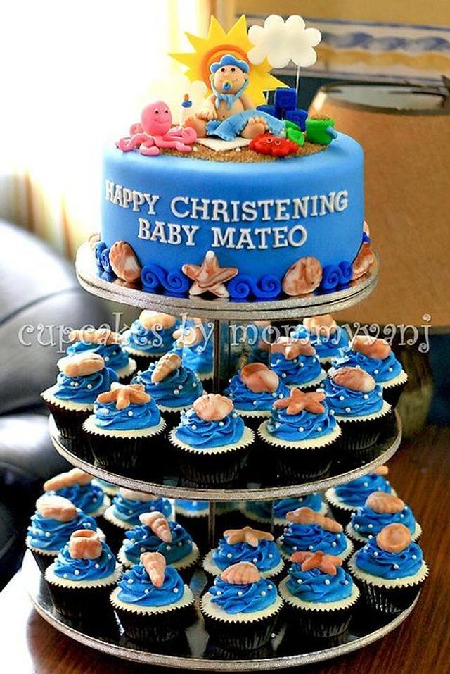 Beach themed Christening cake