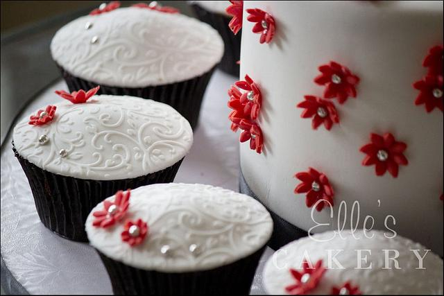 Red and Silver Cupcakes