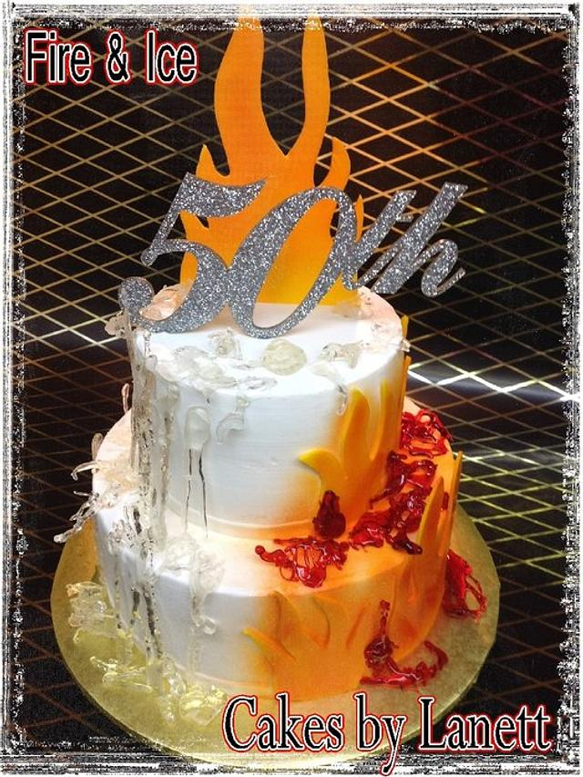 Super Fire Ice 50Th Birthday Cake Cake By Lanett Cakesdecor Personalised Birthday Cards Veneteletsinfo