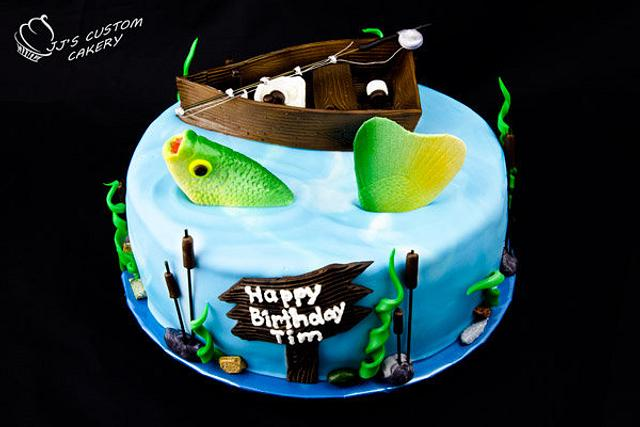Astounding Gone Fishing Birthday Cake Cake By Jenn Cakesdecor Personalised Birthday Cards Epsylily Jamesorg