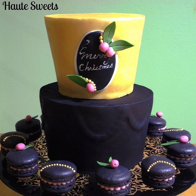 Black and gold Christmas cake and macarons