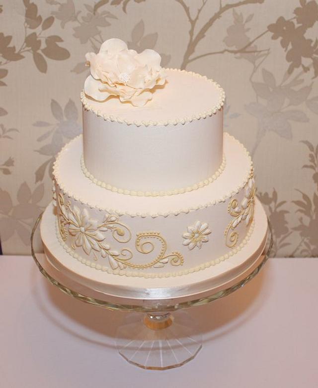 Royal iced wedding cake