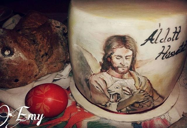 Easter pianted cake / Painted Jesus