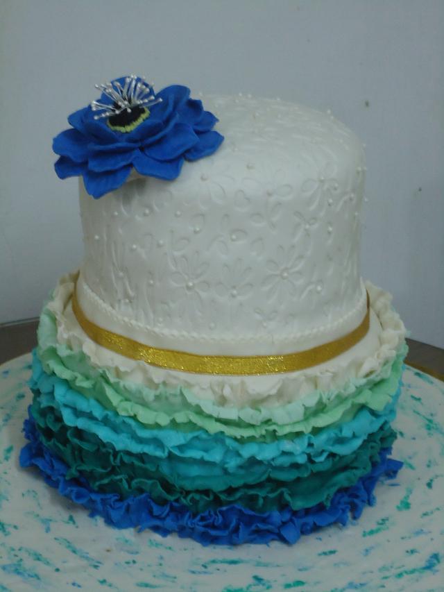 ruffled wedding cake.