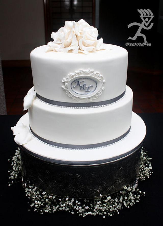 White Roses & Bling Wedding Cake for Kuru & Leigh