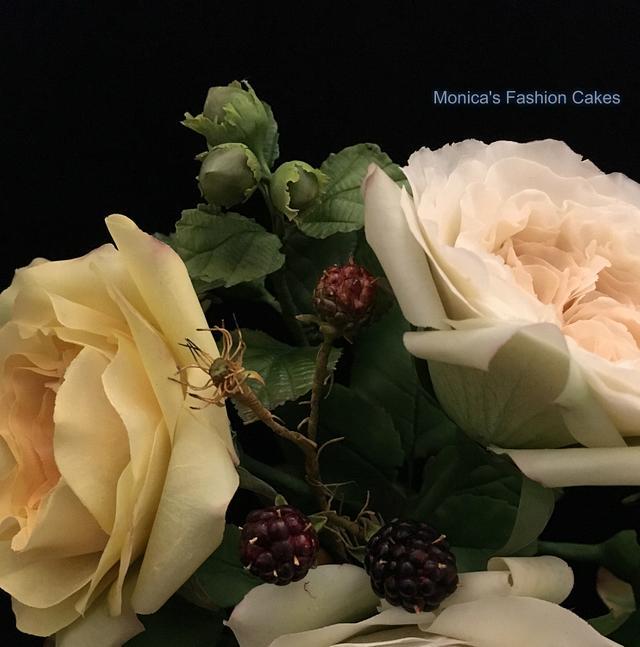 David Austin roses, hazelnuts and wild blackberries